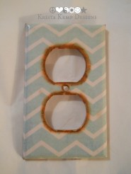 Decorative Blue Chevron Outlet Cover