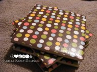 Brown Polka Dot Ceramic Tile Coasters