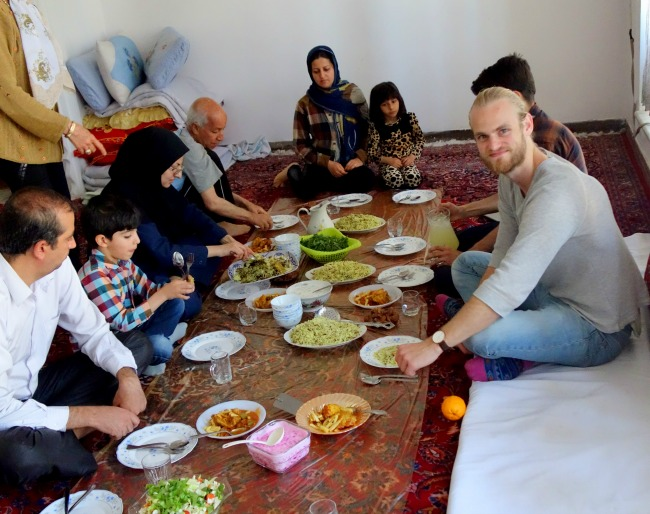 Eating on the carpet in Iran