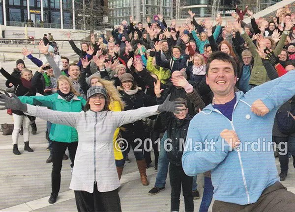 Hamburg, Germany, March 2016. Matt Harding dancing with fans in Marco-Polo Terrassen.