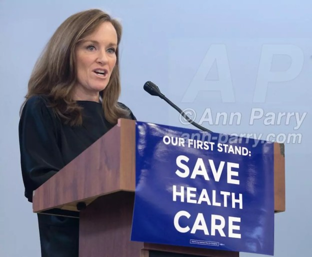 Westbury, NY. January 2017. NY congresswoman Kathleen Rice speaks at Our First Stand Rally