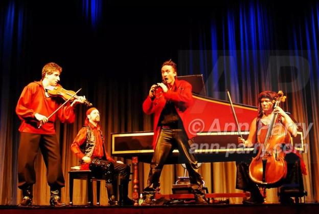 Merrick, NY, USA. Feb. 17, 2008. Red Priest Pirates of the Baroque. PIERS ADAMS recorder player. Howard Beach harpsichordist, ANGELA EAST cellist, DAVID GREENBERG violinist.