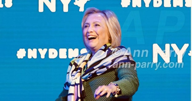 Hempstead, NY, USA. May 23, 2018. HILLARY CLINTON goes on stage to deliver Keynote Address during Day 1 of NYS Democratic Convention, held at Hofstra University on Long Island.