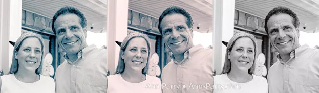 [Photo Composite Illustration] Massapequa, New York, USA. August 5, 2018. L-R, LIUBA GRECHEN SHIRLEY, Democrat running for Congress for New York 2nd District, and Governor ANDREW CUOMO, at campaign event after Cuomo endorsed Grechen Shirley.