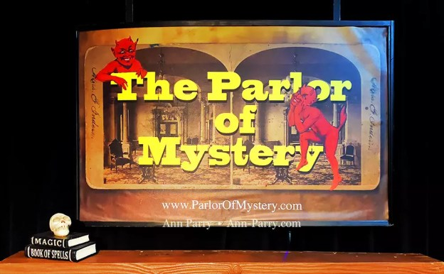 Lindenhurst, New York, USA. September 23, 2018. Closeup of framed The Parlor of Mystery poster handing over mantle, with skull and magic books, on stage set, during Comedy Magic Show presented by The Parlor of Mystery and South Shore Theatre Experience, South Shore Theatre Experience.