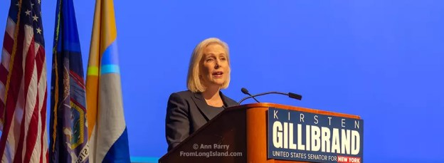 Hempstead NY, Oct. 5, 2018. Sen. Kirsten Gillibrand (D-NY) speaks at podium at start of Town Hall Meeting at Hofstra University, Long Island.