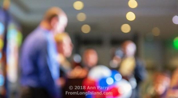 Garden City, New York, USA. November 6, 2018. Nassau County Democrats watch Election Day results at Garden City Hotel, Long Island. LIUBA GRECHEN SHIRLEY, candidate for New York Congressional District 2, speaks to supporters after incumbent King is declared winner. CHRISTOPHER SHIRLEY, her husband, joined her onstage. © 2018 Ann Parry, FromLongIsland.com