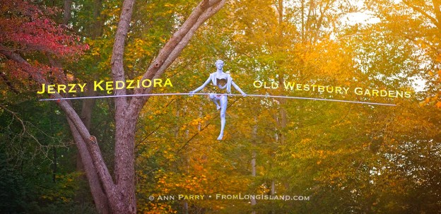 Old Westbury, New York, U.S. October 19, 2019. Statue is one of 33 by Jerzy Kędziora (Jotka) in his Balance in Nature outdoor sculptures exhibit held at Old Westbury Gardens.