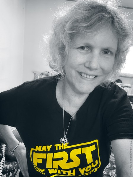 Member of the Society of Professional Journalists (SPJ) and Press Club of Long Island Chapter (PCLI) takes selfie while wearing MAY THE FIRST BE WITH YOU t-shirt, which celebrates the First Amendment of the United States Constitution. (© 2020 Ann Parry, FromLongIsland.com)