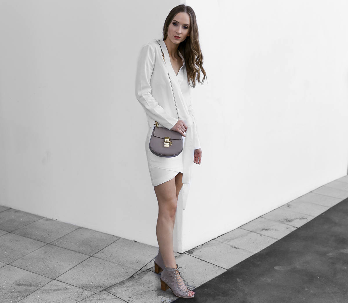 Chloe Drew Bag Mini Taupe outfit