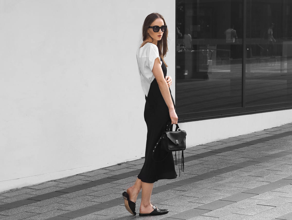 Black Slip Dress Fashion Blogger Minimal Outfit