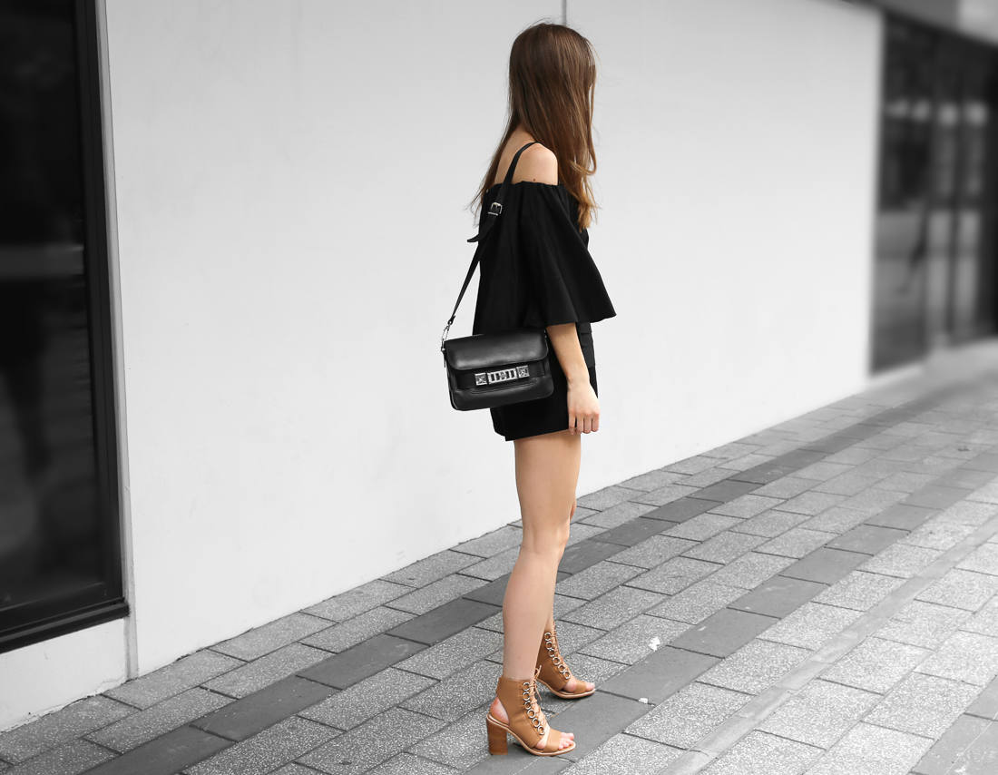 All black outfit off the shoulder top