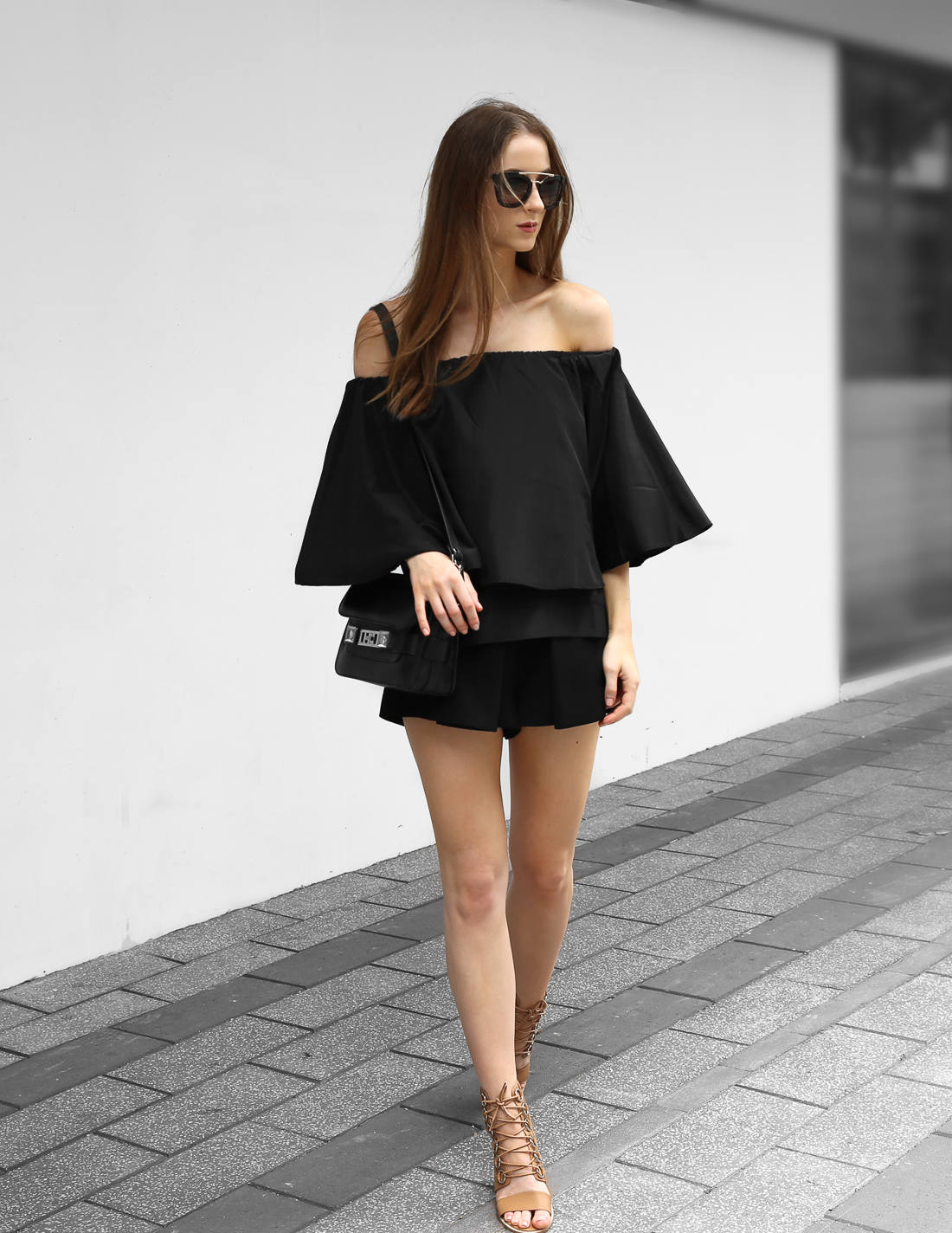 All black outfit off the shoulder top from luxe with love