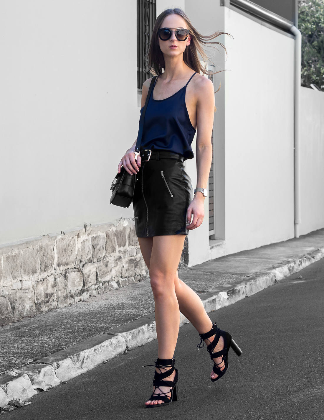 Best leather skirts blogger outfit