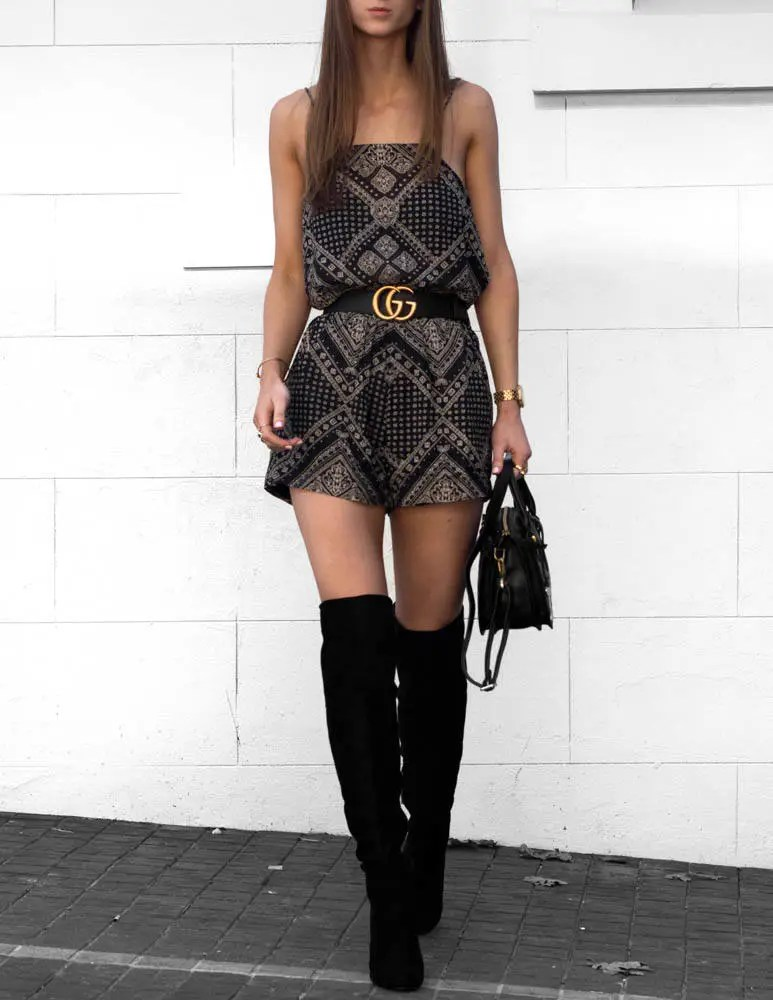 Over the knee boots outfit Gucci belt
