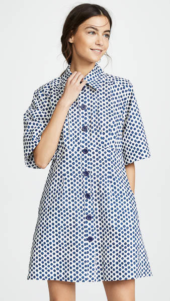 Sea Polka Dot Shirtdress