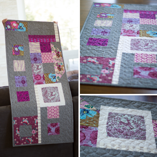 Plum improv table runner