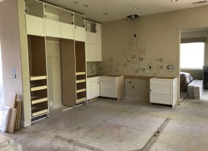 starting to install the cabinets