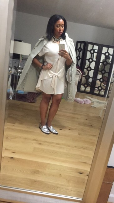 H&M dress, Burberry trench, and J Crew silver brogues
