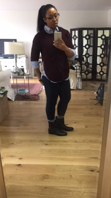 Stitch Fix sweater, Citizens jeans, J Crew button down with gold side detail, Zara moto boots