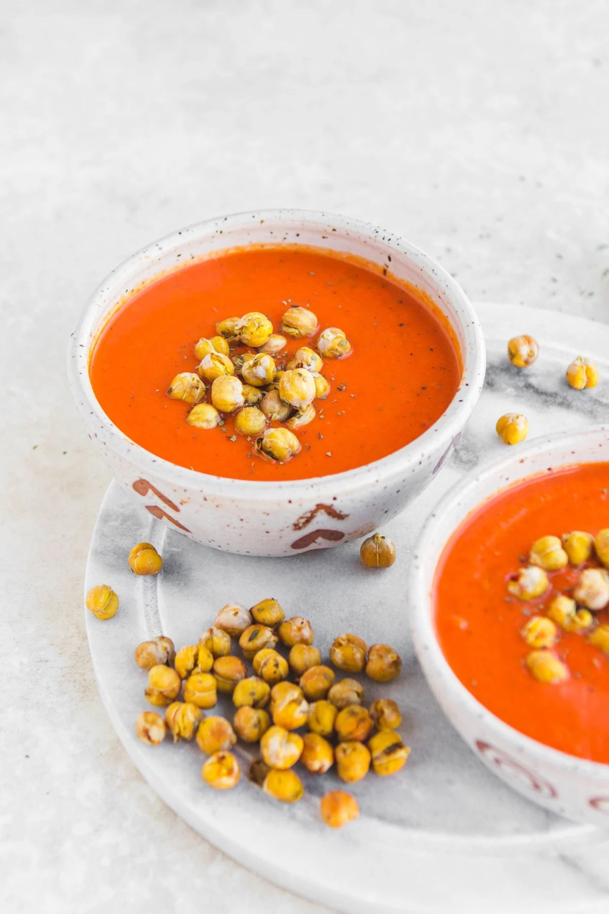 Creamy Tomato Amp Red Pepper Soup With Basil Chickpeas
