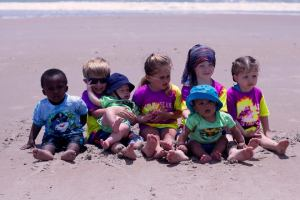 """Another traditional photo with all the """"littles"""" all in their Topsail Beach T-shirts."""