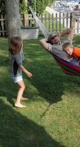 Gabby and David enjoyed swinging PeePaw in the hammock.