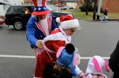 Receiving goodies from Mrs. Clause and Uncle Sam