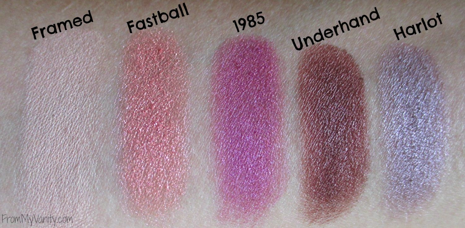 Urban Decay Vice 4 Palette // Swatches of the Second Row in Palette // FromMyVanity.com