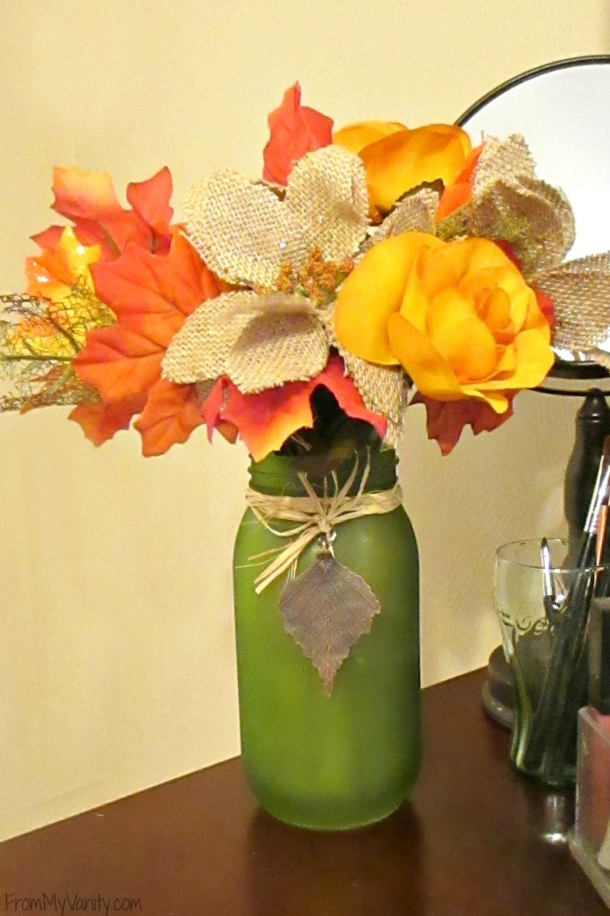 Decorate Your Vanity for Fall // Fall Inspired Flowers & Vase // #LoveAmericanHome #CollectiveBias #ad // FromMyVanity.com