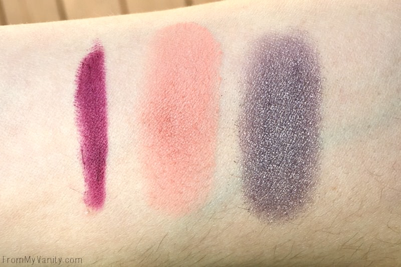 Swatches from Sigma Beauty blush, eyeshadow, and lip product