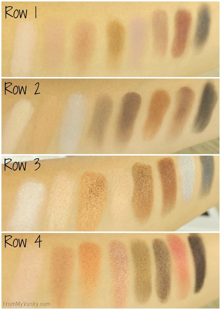 Swatches of the LORAC Mega PRO 3 palette