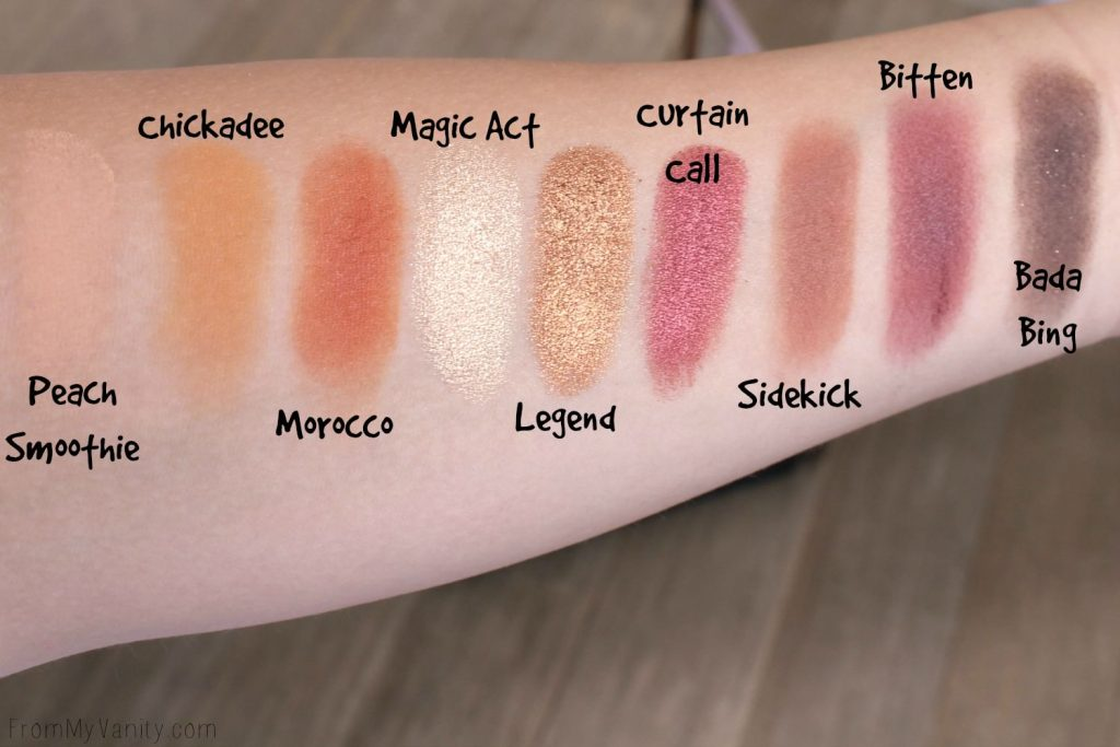 Swatches of the Makeup Geek Autumn Glow Bundle