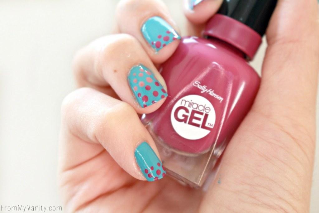 Easy Dotticure Nail Art   Tutorial   Sally Hansen Miracle Gel   Step-By-Step
