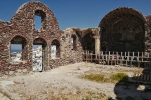 Inside the ruins of the castle of Oia, Greece