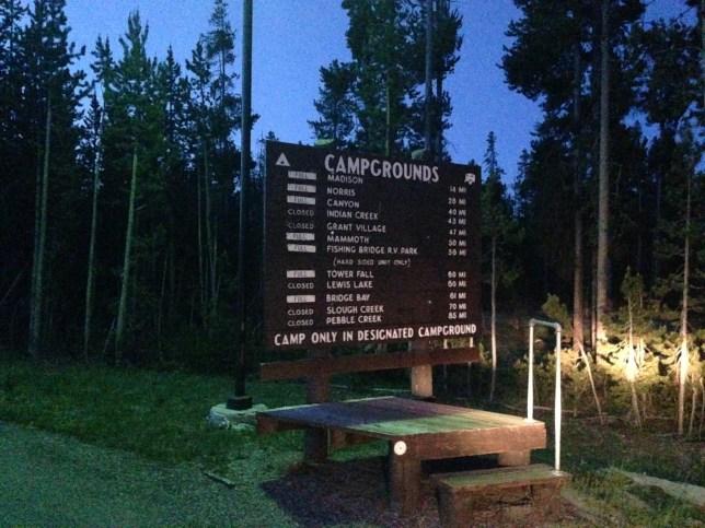 Camping in Yellowstone