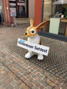 A rabbit advertising free eye tests... of course
