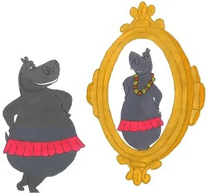 the size zero hippo in front of mirror watching its reflection to be thinner than it is
