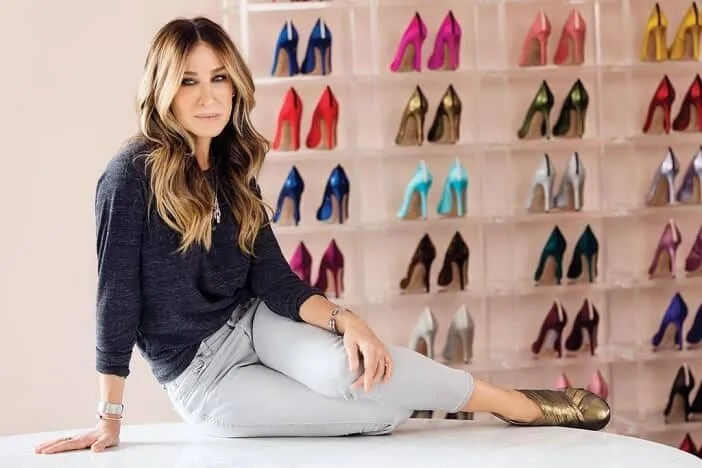 Carrie with lots of shoes