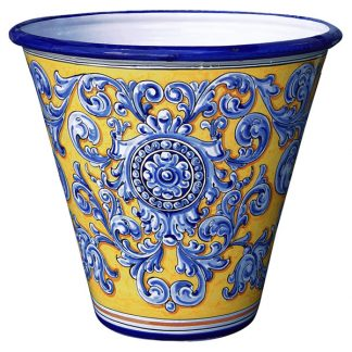 Ceramic Garden Planter. Yellow & Blue