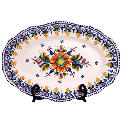 Hand Painted Ceramic Oval Serving Dish.  Multicolor