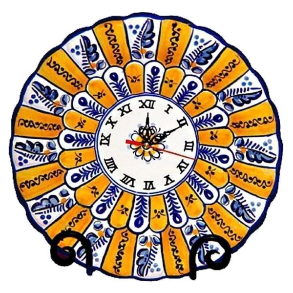 "Hand Painted Ceramic ""Peacock"" Wall Clock.  Fiesta Yellow"