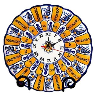 "Hand Painted Ceramic ""Peacock"" Wall Clock.  Fiesta Yellow"