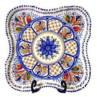 Square Hand Painted Ceramic Serving Plate.  Multicolor