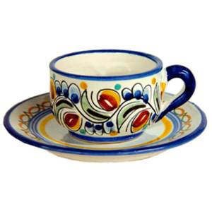 Hand Painted Spanish Ceramic Espresso Cup & Saucer