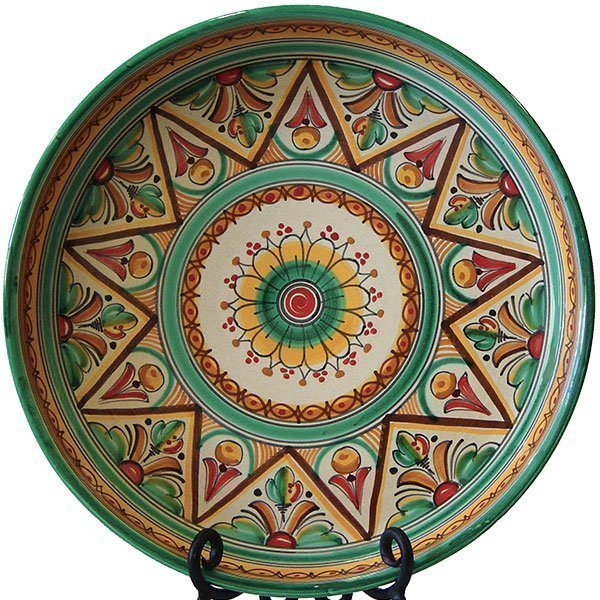 Traditional green Spanish ceramic plate
