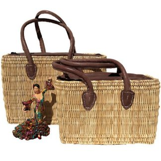 Wicker tote bag with leather