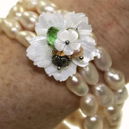 Handmade Pearl Flower Bracelet from Spain