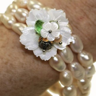 Handmade Pearl Flower Bracelet from Spain