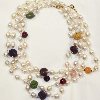 Pearl, Amethyst and Garnet Necklaces from Spain